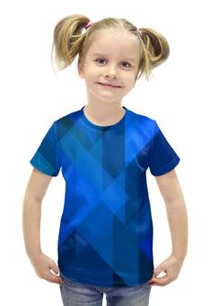 """Футболка с полной запечаткой для девочек """"Синий абстрактный"""" - графика, синий, краски, абстракция, треугольники"""