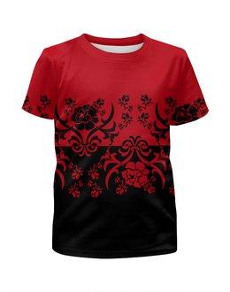 """Футболка с полной запечаткой для девочек """"Красно-черный"""" - цветы, черный, красный, орнамент, половина"""
