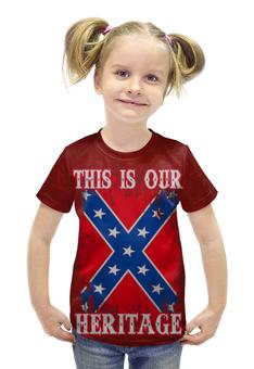 """Футболка с полной запечаткой для девочек """"Флаг Конфедерации США"""" - война, америка, флаг, сша, флаг конфедерации"""
