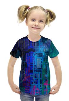 """Футболка с полной запечаткой для девочек """"Космический город"""" - голубой, космос, графика, геометрия, небоскребы"""