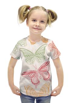 """Футболка с полной запечаткой для девочек """"Бабочки"""" - бабочка, мотылёк"""