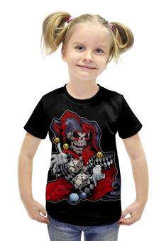 """Футболка с полной запечаткой для девочек """"Джокер скелетон"""" - череп, кости"""