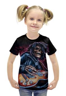 """Футболка с полной запечаткой для девочек """"Скелет с гитарой"""" - черепа, скелеты, рок и метал"""