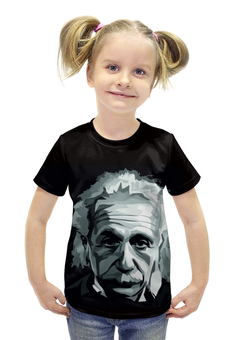"""Футболка с полной запечаткой для девочек """"Альберт Эйнштейн"""" - наука, физика, ученый, ломоносов, теория относительности"""