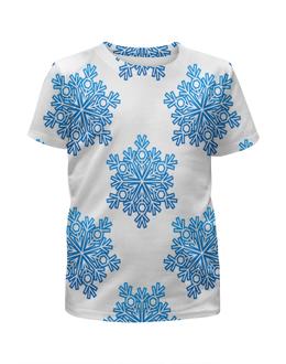 """Футболка с полной запечаткой для девочек """"Голубые снежинки"""" - новый год, узор, голубой, снег, снежинки"""