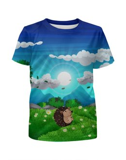 """Футболка с полной запечаткой для девочек """"Ёжик на лугу"""" - животные, ёжик, небо, природа, луг"""