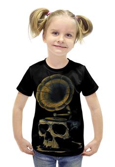"""Футболка с полной запечаткой для девочек """"Skull Art"""" - skull, череп, artwork, граммофон, арт дизайн"""