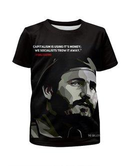 """Футболка с полной запечаткой для девочек """"Фидель Кастро"""" - политика, путин, че гевара, куба, сигара"""