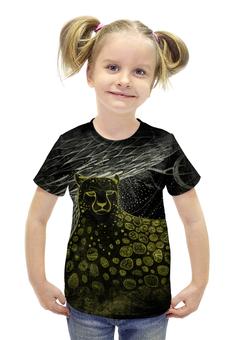 """Футболка с полной запечаткой для девочек """"Гепард"""" - авторские майки, черный, рисунок, животное, гепард"""
