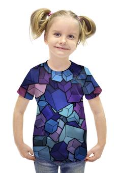 """Футболка с полной запечаткой для девочек """"Abstract Cubes"""" - 3d, бездна, кубы, abyss"""