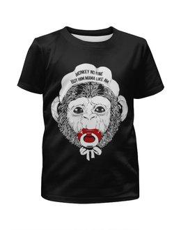 """Футболка с полной запечаткой для девочек """"год обезьяны """" - обезьяна, monkey, 2016, год обезьяны"""
