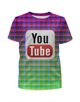 """Футболка с полной запечаткой для девочек """"YouTube"""" - арт, дизайн, знак, логотип, символ"""