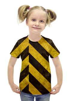 """Футболка с полной запечаткой для девочек """"Полосы 5"""" - чёрный, жёлтый, полосы"""