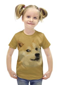 """Футболка с полной запечаткой для девочек """"Doge """" - мем, сиба ину, доге, сиба"""