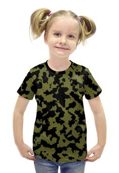 """Футболка с полной запечаткой для девочек """"Зелёно-Чёрный Камуфляж"""" - армия, камуфляж, camouflage, военный, зелёно чёрный камуфляж"""