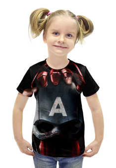 """Футболка с полной запечаткой для девочек """"Капитан Америка"""" - комикс, фантастика, марвел, iron man, captain america"""