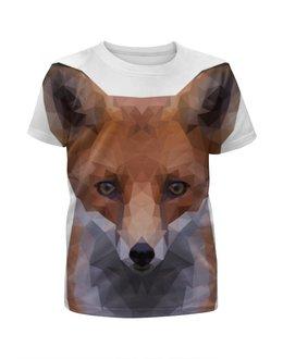"""Футболка с полной запечаткой для девочек """"FOX   """" - арт, животные, рисунок, лиса, лоуполи"""