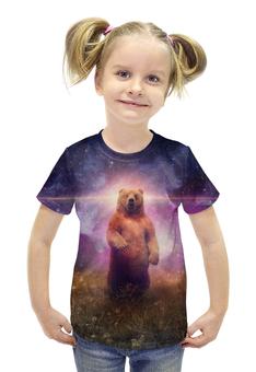 """Футболка с полной запечаткой для девочек """"Медведь"""" - медведь, вселенная"""