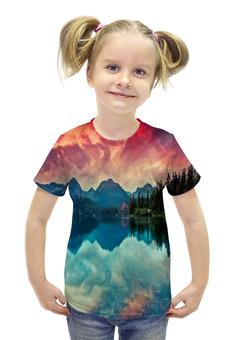 """Футболка с полной запечаткой для девочек """"Природа"""" - природа, закат, река, озеро, пейжаз"""