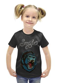 """Футболка с полной запечаткой для девочек """"Smile """" - smile, улыбка, кинг-конг"""