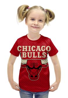 """Футболка с полной запечаткой для девочек """"Чикаго Буллз (Chicago Bulls)"""" - nba, нба, chicago bulls, чикаго буллз"""