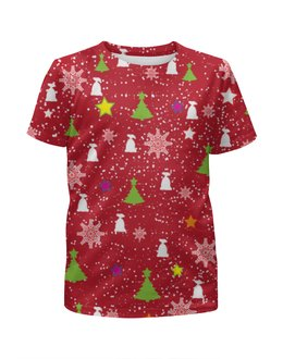 """Футболка с полной запечаткой для девочек """"Happy New Year (Счастливый Новый Год)"""" - happy new year, подарок, дед мороз, елка, merry cristmas"""