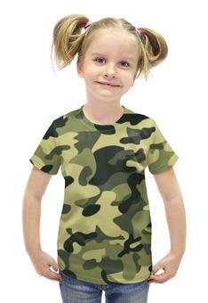 """Футболка с полной запечаткой для девочек """"Камуфляж"""" - армия, army, камуфляж, camo, военный"""