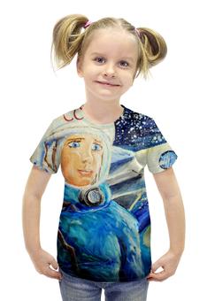 """Футболка с полной запечаткой для девочек """"Космос СССР"""" - ручная работа, детский рисунок, от детей, детская работа"""