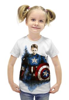 """Футболка с полной запечаткой для девочек """"Капитан Америка"""" - капитан америка, captain america, первый мститель, civil war"""