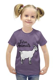 """Футболка с полной запечаткой для девочек """"farm animals"""" - animals, рога, козел, копыта, farm"""