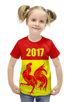 """Футболка с полной запечаткой для девочек """"2017 - год Красного Петуха"""" - 2017, красный петух, восточный календарь"""