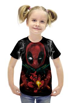 """Футболка с полной запечаткой для девочек """"Deadpool Guns"""" - комиксы, marvel, марвел, убийца, дэдпул"""