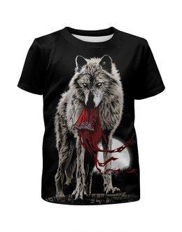 """Футболка с полной запечаткой для девочек """"Серый Волк"""" - животные, волк, wolf"""