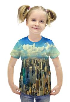 """Футболка с полной запечаткой для девочек """"Megapolis"""" - страны, города, облака, дома, мегаполис"""