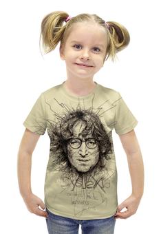 "Футболка с полной запечаткой для девочек ""John Lennon (The Beatles)"" - музыка, the beatles, битлз, джон леннон, jonh lennon"