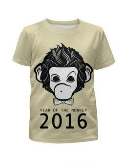 """Футболка с полной запечаткой для девочек """"Год Обезьяны"""" - новый год, обезьяна, monkey, 2016, год обезьяны"""