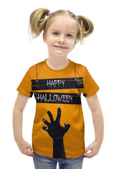 """Футболка с полной запечаткой для девочек """"HAPPY HALLOWEEN"""" - хэллоуин, зомби, halloween party"""