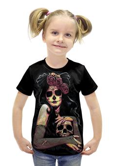 """Футболка с полной запечаткой для девочек """"девушка с черепом"""" - череп, девушка"""