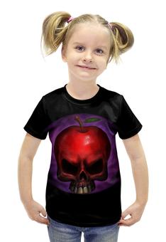 """Футболка с полной запечаткой для девочек """"Skull Art"""" - skull, череп, яблоко, apple skull, яблоко череп"""