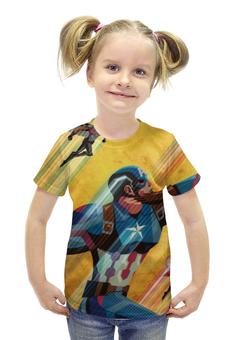 """Футболка с полной запечаткой для девочек """"Капитан Америка"""" - captain america, стивен роджерс"""