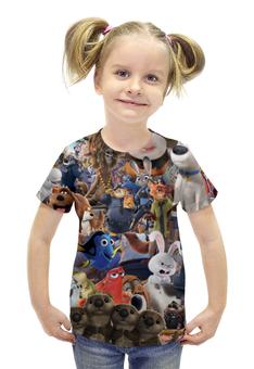 """Футболка с полной запечаткой для девочек """"Мультфильмы"""" - pixar, тайная жизнь домашних животных, зверополис, в поисках дори"""