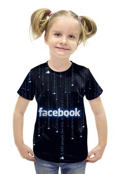 """Футболка с полной запечаткой для девочек """"Фейсбук """" - лайк, социальная сеть"""