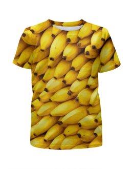 """Футболка с полной запечаткой для девочек """"Бананы 3D"""" - еда, фрукты, бананы, пища"""