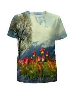 """Футболка с полной запечаткой для девочек """"Горный пейзаж"""" - растение, весна, природа, горы, цветочки"""