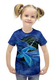 """Футболка с полной запечаткой для девочек """"Голубые единороги"""" - арт, авторские майки, лошадь, единорог"""