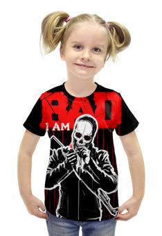 """Футболка с полной запечаткой для девочек """"I AM BAD"""" - skull, череп, огонь, автомат, сила"""