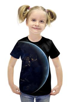 """Футболка с полной запечаткой для девочек """"World"""" - планета, world, earth, земля, planet"""