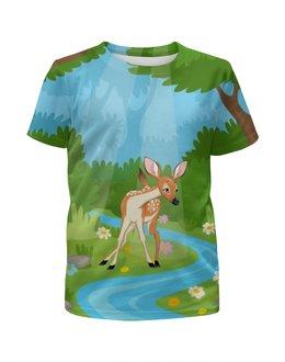 """Футболка с полной запечаткой для девочек """"Оленёнок"""" - животные, оленёнок, лес, природа, олень"""