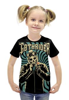 """Футболка с полной запечаткой для девочек """"Gothrider"""" - череп, байкер, рокер, biker, gothrider"""
