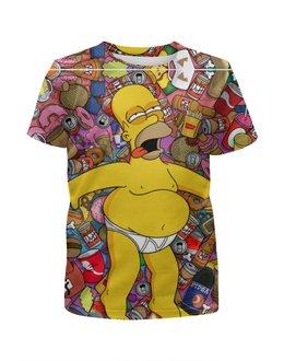 """Футболка с полной запечаткой для девочек """"Гомер Симпсон"""" - юмор, simpsons, симпсоны, мульт, фэн-арт"""